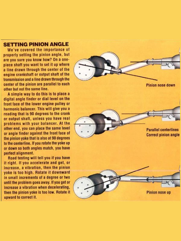 Shows how to set your pinion angle to reduce drive shaft vibration