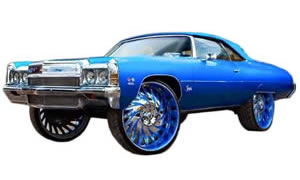 View photos of Donk Caprice, Impala, Lesabre, Oldsmobile 88, Biscayne, Belair, lifted on 24s, 26s, 28s.