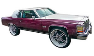 Photos of donk style lifted Cadillac Fleetwood, Seville, Brougham, Eldorado on Forgiato and Lexani type rims.
