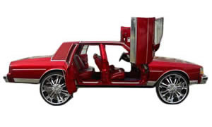 Pictures of vertical lambo suicide door kit installed on Caprice, Impala, Monte Carlo, Cutlass, Cadillac, Vic, and more.