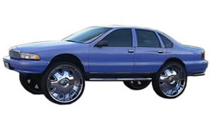 View images of Chevy Bubble Caprice, Impala, Roadmaster whips on 26, 28, 30, 32 inch wheels.
