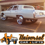 Cadillac Brougham donk on 24, 26, or 28 inch rims with this lift kit from Universal Car Lifts.