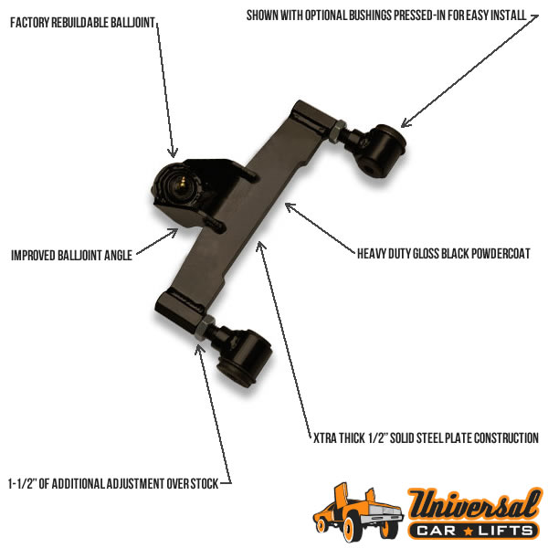 92, 93, and 94 Ford Crown Victoria or Marquis front control arm upper for lift kit alignment suspension package.