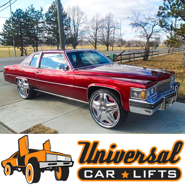 Example of a lift kit installed in a 77-84 coupe deville by cadillac.