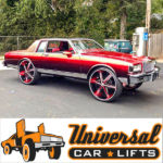 2 Door candy red box Chevy on 30s with UCL suspension lift kit installed.