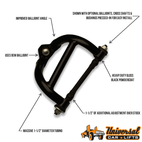 Lift kits for Chevy Nova, Ventura, Skylark, Phoenix, Omega cars for rim and tire package offset with lift spindles.