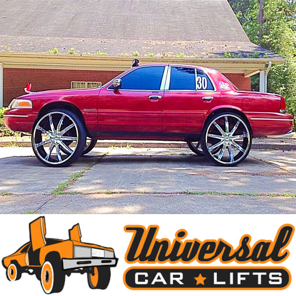 Fit Dub alloy black mamba, bomber, and drone wheels on your crown vic, marquis, or town car with full kit.