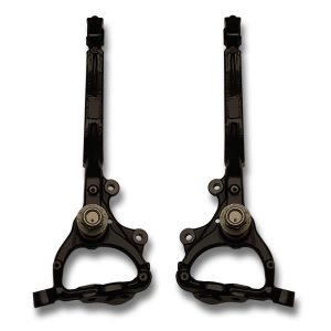 Extended length spindles for Dodge Charger, Challenger, Chrysler 300c allows bigger rims and tires to fit and not rub the ball joint on 2012, 2013, 2014, 2015, 2016, 2017, 2018, 2019, 2020, and 2021 model years. Modified spindle clears 22, 24, 26, 28, 30 inch wheels with no rubbing.