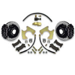 Rear drum to disc conversion kit for Pontiac Grand Am. Chevy A body brake swap to tall spindle front. Stopping power is increased significantly.