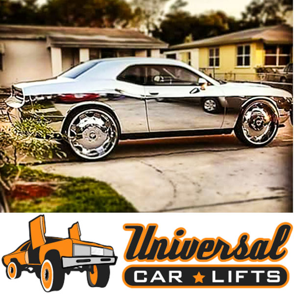 Chrome wrapped challenger, charger, 300c or Magnum on 24s or 26s with lifted suspension.