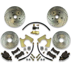 Four wheel drilled & slotted rotor upgrade kit for donk chevy including big brake upgrade system. How to instruction manual included.