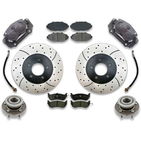 Cross drilled rotors are included with this big brake upgrade kit for marquis, crown victoria or town car. Front swap includes instruction manual.