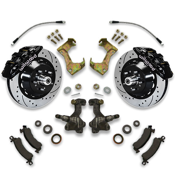 Front only cross drilled & slotted big brake upgrade kit for cutlass, monte carlo, chevelle, malibu and century.