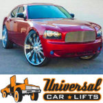 Candy painted dodge charger on 28s or 30s including cut the fenders with fabricated spindle job.