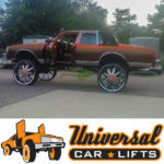32's on a Caprice box chevy convertible soft top. 38 inch rims could fit with this lift kit.