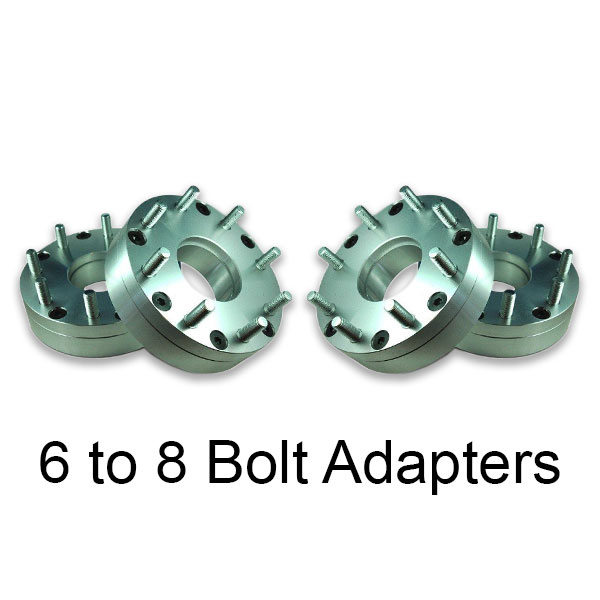 6 to 8 lug wheel adapters conversion for silverado and sierra to hummer or diesel 2500 and 3500 series trucks. 1 ton and 3/4 ton are usually 8 bolt.