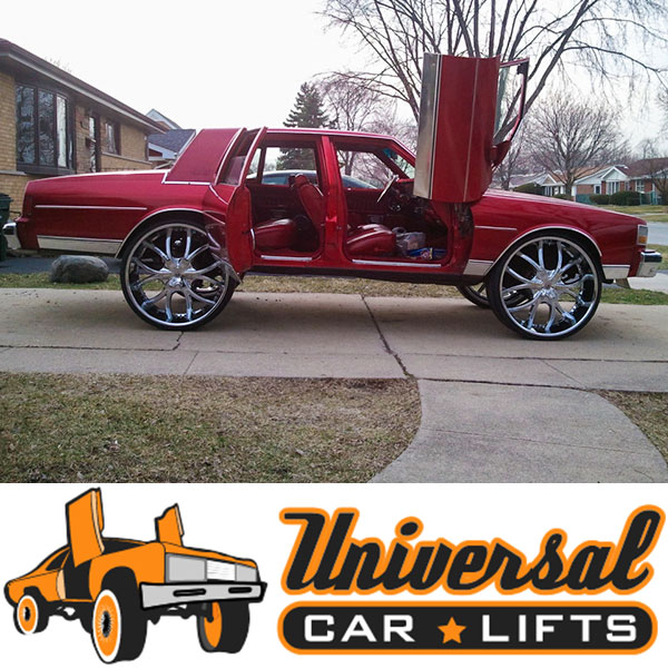 90 degree bolt on lambo door kit installed on this box chevy caprice on 28s.