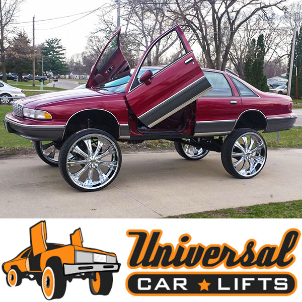 Caprice donk with lift kit installed on 40 inch rims with high riser rides great with springs and shocks.