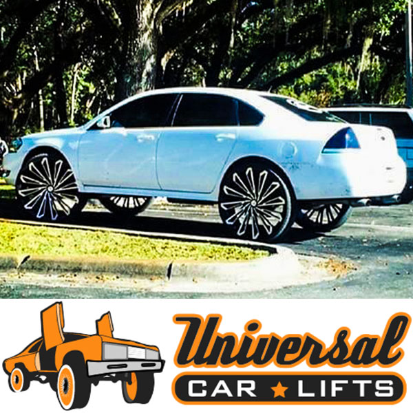 Lifted Chevy Impala on 28 inch rims with strut years 2004, 2005, 2006, 2007, 2008, 2009 and newer vehicles apply.