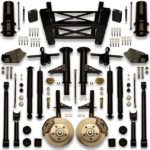 Monster truck car lift kit to fit 28, 30, 32, 34, 36, 38, 40 or 42 inch rims on a donk chevy cutlass or monte carlo.