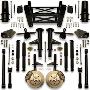 Dropped cross member kit for Cutlass, Monte Carlo and other Chevy G body suspension platform. Lift for 30 inch wheels.