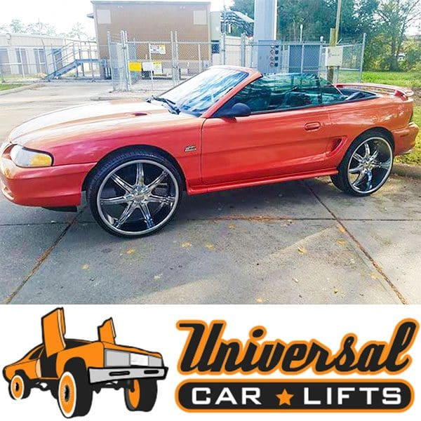Ford Mustang on 26's inch rims using a lift kit installed. Fits 92, 93, 94, 95, 96, 97, 98, 99, 00, 01 and 02 model year vehicles.