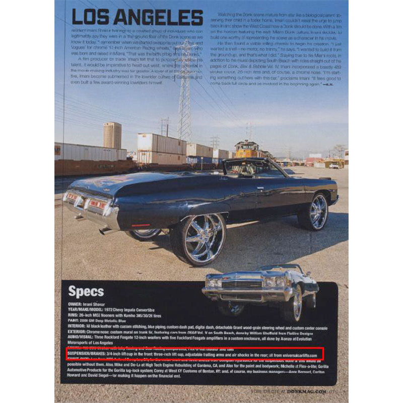 Rides Magazine donk photo shoot specs in Los Angeles.