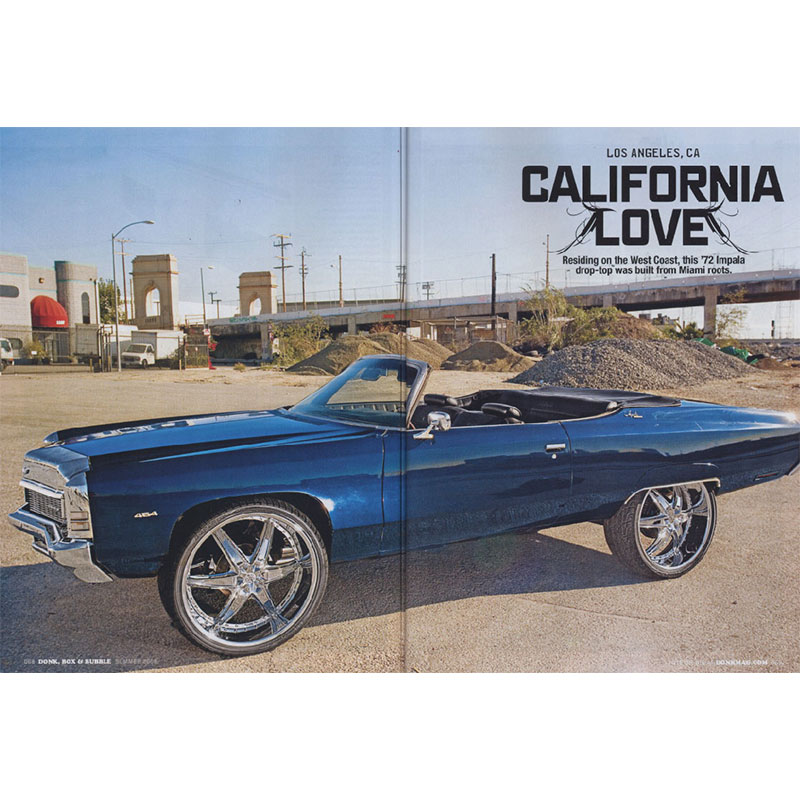Rides Magazine photo shoot spread featuring 1972 Chevy Impala convertible.