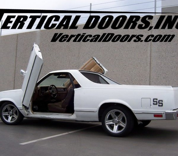 Chevy El-Camino vertical lifting doors. Bolt on lambo door hinges kit fits 77, 78, 79, 80, 81, 82, 83, 84, 85, 86 and 87 Chevrolet El Caminos. Installation is simple with our detailed installers guide included with every kit.