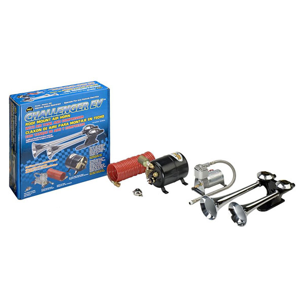 Air horn blower is included with this tripple chrome trumpet kit for Chevy vehicles.