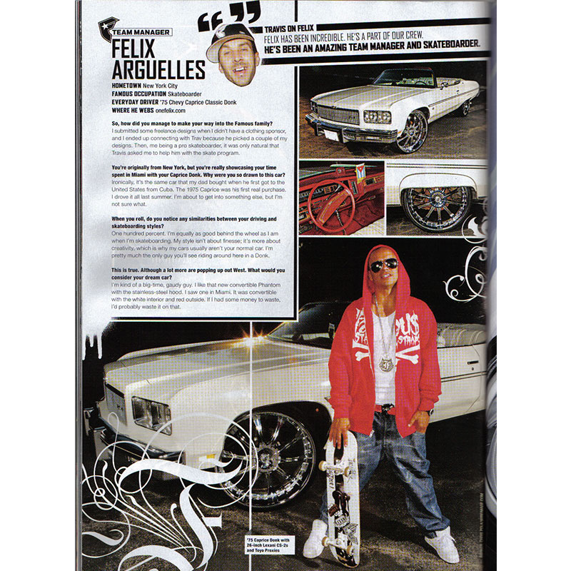 Felix's car in Rides Magazine donk cars edition from January, February, March and April copy.