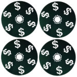 Money design rim dust shield cover fits any bolt pattern wheel like chevy, caprice, impala, cutlass and monte carlo.