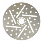 Custom simulated brake rotor style cross drilled and slotted rim dust shields for big wheels.