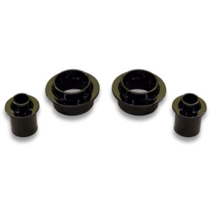Front and rear coil spring spacer boost kit to eliminate sagging rear end of car. Tire rubs are also addressed.