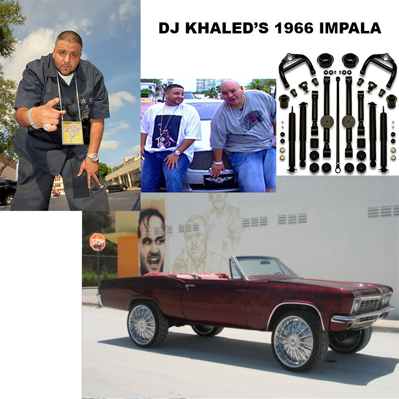 DJ Kahled 1966 Chevy Impala SS convertible donk on 26 inch rims.