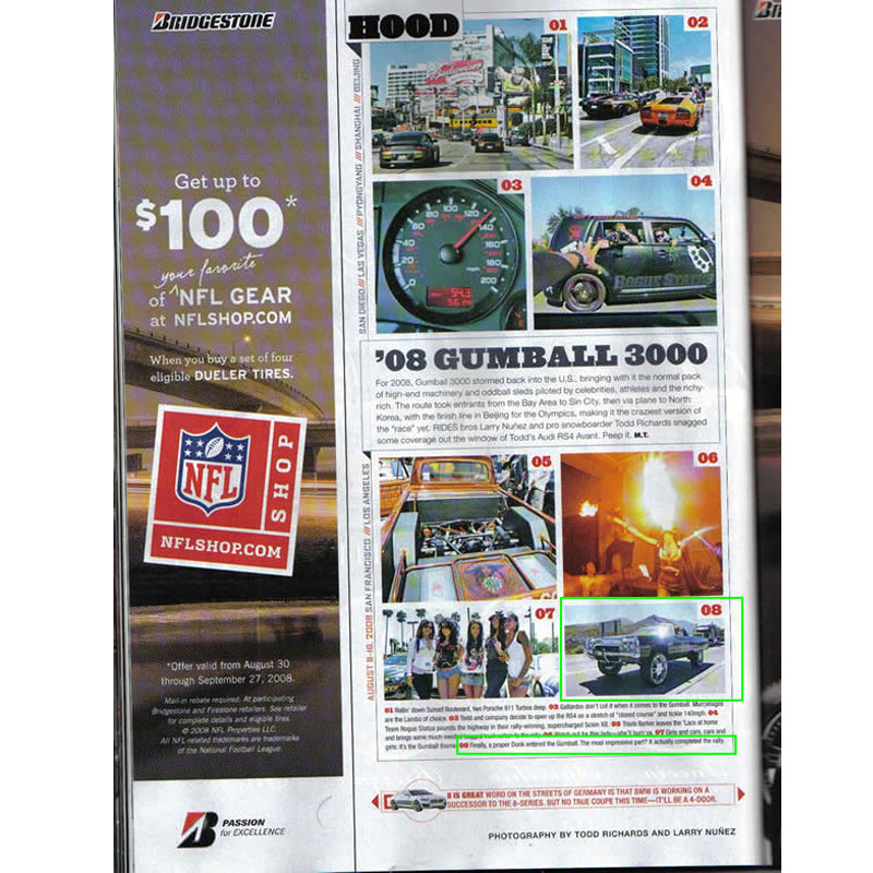 Rides Magazine hood section showing Gumball 3000 race and best celebrity wade whips.
