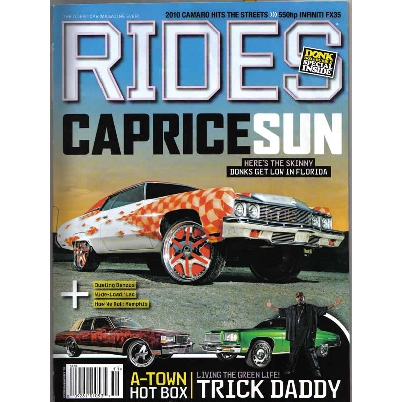Rides Magazine cover showing Chevy Caprice hard top donk on 24 inch Forgiatos.