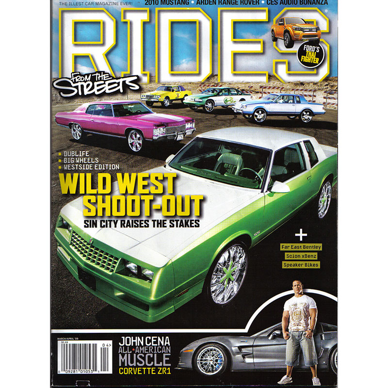 Universal Car Lifts featured in Rides Magazine custom shop photo shoot cover.