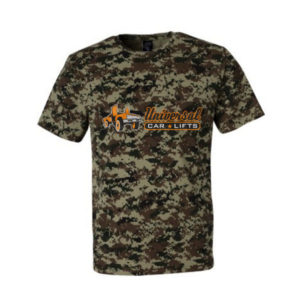 Universal Car Lifts t shirt in digital camo.