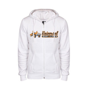 White cip up hoodie from Universal Car Lifts.