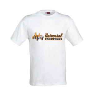 White t shirt from Universal Car Lifts.