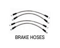 Shop extended brake hoses for lifted cars.
